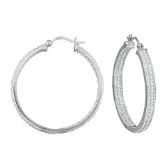 Sterling Silver Crystal In/Out Hoop Earrings