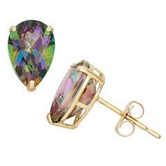 Pear Blue Mystic Fire Topaz 10K Gold Stud Earrings