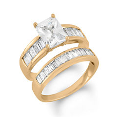 Womens 3 CT. T.W. White Cubic Zirconia 14K Gold Over Silver Bridal Set