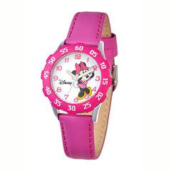 Disney Minnie Mouse Kids Time Teacher Magenta Leather Watch