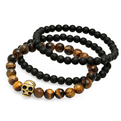 Mens Multi Color Tiger'S Eye 18K Stainless Steel Beaded Bracelet