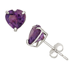 Heart Purple Amethyst 10K Gold Stud Earrings