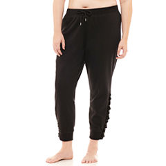 Flirtitude Lace Up Fleece Jogger Pants-Juniors Plus