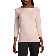 Liz Claiborne 3/4 Sleeve Boat Neck Pullover Sweater-Petites