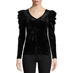 Bisou Bisou Draped Sleeve Velvet Top