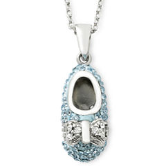 Sterling Silver Blue Crystal Baby Shoe Pendant Necklace