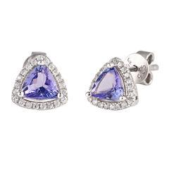 Trillion Purple Tanzanite Sterling Silver Stud Earrings