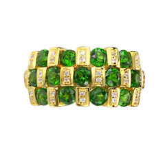 Womens Genuine Green Chrome Diopside Gold Over Silver Side Stone Ring