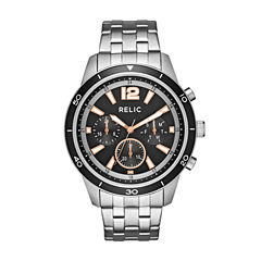 Relic Mens Silver Tone Bracelet Watch-Zr15935