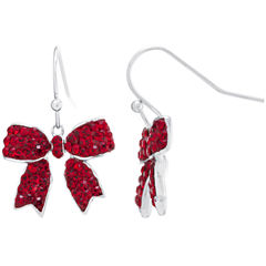 Sparkle Allure Red Silver Over Brass Drop Earrings