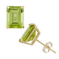 Emerald Green Peridot 10K Gold Stud Earrings
