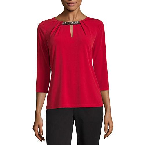 Liz Claiborne 3/4 Sleeve Keyhole Neck T-Shirt-Petites