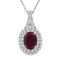 Lab-Created Ruby and White Sapphire Sterling Silver Halo Pendant Necklace