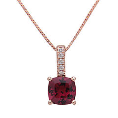 LIMITED QUANTITIES! Diamond Accent Red Rhodolite 14K Gold Pendant Necklace