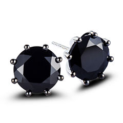 Round Black Spinel Sterling Silver Stud Earrings