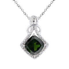 Womens Green Chrome Diopside Sterling Silver Pendant Necklace