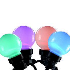 Set of 20 LED Multi-Color Color Changing G45 GlobeChristmas Lights - Black Wire