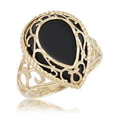 Womens Black Onyx 10K Gold Cocktail Ring
