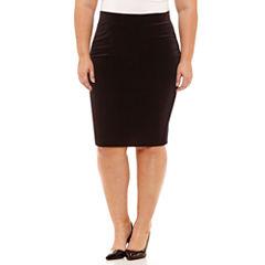 Boutique + Velvet Pencil Skirt Plus