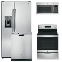 GE® 4-pc. Electric Kitchen Package- Stainless Steel