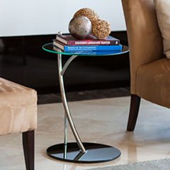 Danya B. Cantilever Clear Glass-top Round End Table with Black Glass and Chrome Base