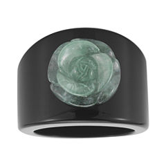Jade & Onyx Carved Flower Ring