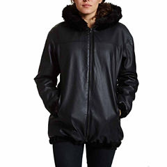 Excelled® Reversible Faux-Leather/Faux-Fur Jacket