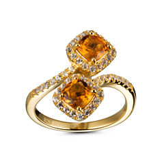 Womens Yellow Citrine Gold Over Silver Bypass Ring