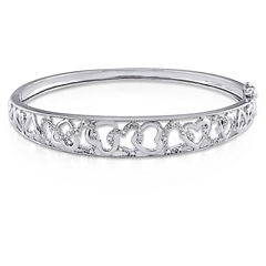 Womens Diamond Accent White Diamond Accent Sterling Silver Bangle Bracelet