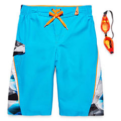 Zero Xposur Boys Geometric Swim Trunks-Big Kid