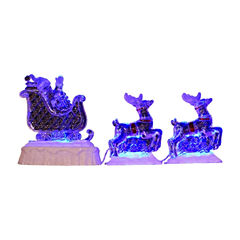 3-Piece Set Icy Crystal LED Lighted Reindeer and Santa on a Sled Christmas Decor