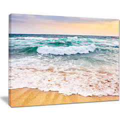 Design Art Foaming Waves Splashing The Sand Seascape Canvas Art Print