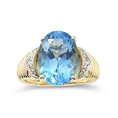 Womens 1/3 CT. T.W. Genuine Blue Topaz Gold Over Silver Cocktail Ring