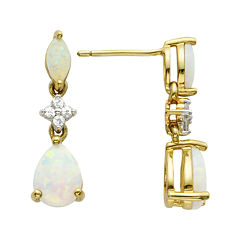 14K Gold-Plated Sterling Opal Drop Earrings