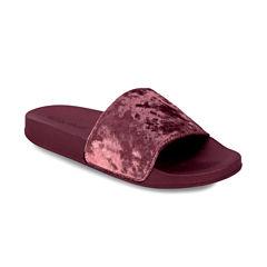 Olivia Miller Crushed Velvet Womens Slide Sandals