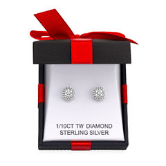 1/10 CT. T.W. Double Halo Diamond Stud Earrings