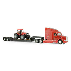 TOMY - ERTL Big Farm 1:32 Peterbilt Model 579 Semi with Lowboy and Case IH MX305 Tractor Backhoe Loader