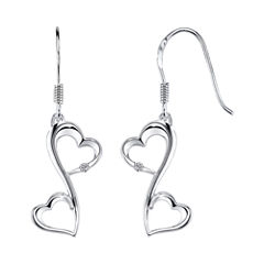 Love Grows™ Sterling Silver Diamond-Accent Double-Heart Drop Earrings