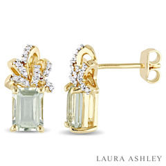 Laura Ashley Green Amethyst 18K Gold Over Silver Ear Pins