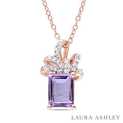Laura Ashley Purple Amethyst Cushion 18K Gold Over Silver Pendant