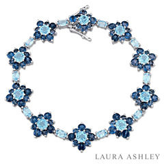 Laura Ashley Womens Blue Blue Topaz Sterling Silver Tennis Bracelet