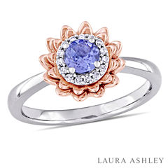 Laura Ashley Womens Genuine Purple Tanzanite 10K Gold Cocktail Ring