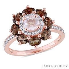 Laura Ashley Womens Genuine Pink Quartz 18K Gold Over Silver Cocktail Ring