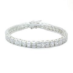 Sparkle Allure Clear Cubic Zirconia Square Stone Silver Adjustable
