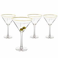 Cathy's Concepts Gold Rim 4-pc. Martini Glass