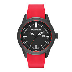 Skechers® Mens Red and Black Double-Sided Silicone Strap Watch