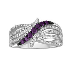LIMITED QUANTITIES 3/8 CT. T.W. White and Color-Enhanced Purple Diamond Bypass Ring