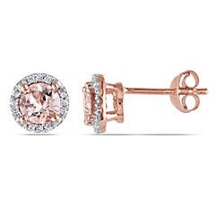 Pink Morganite & Diamond-Accent Stud Earrings
