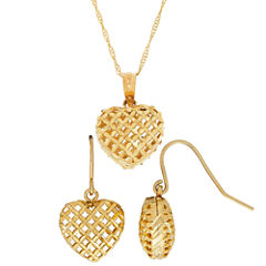 10K Yellow Gold Diamond-Cut Puffed Heart Earring and Pendant 2-pc. Jewelry Set