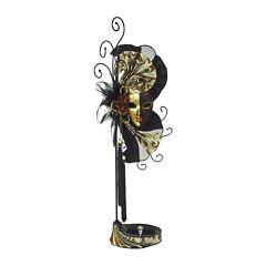 Mardi Gras Mask Black, Gold & Brown Jewelry Stand Organizer